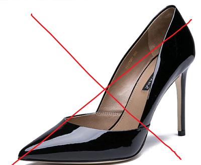 Тесни обувки на висок ток